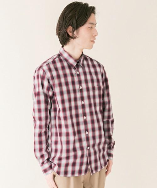 赤のオンブレーチェックシャツ