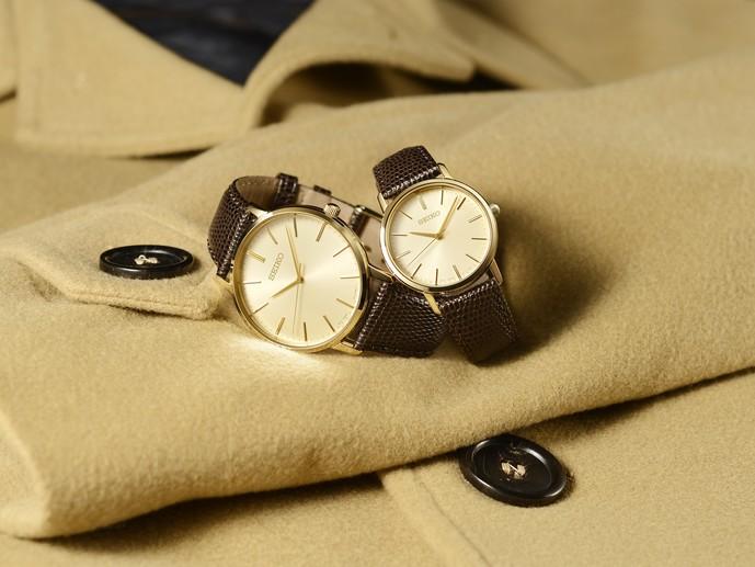 シンプルな薄型腕時計