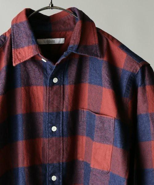赤のインディゴパターンチェックシャツ