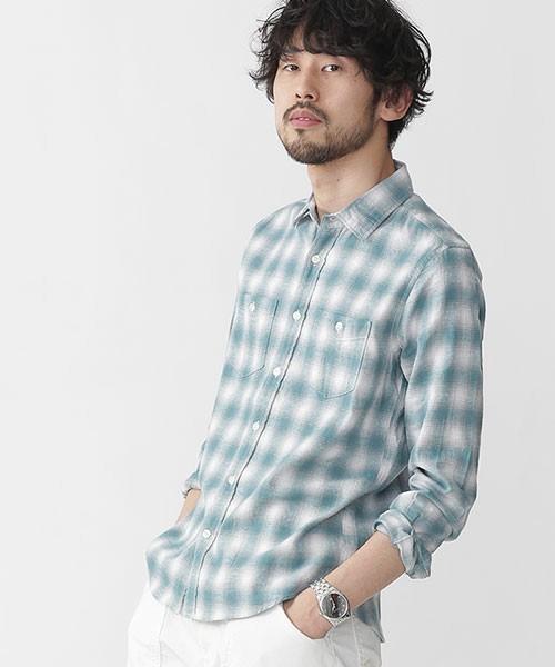 ナノユニバースの緑チェックシャツ