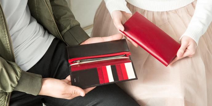 ペアグッズのプレゼントにJOGGOのペア財布赤.jpg
