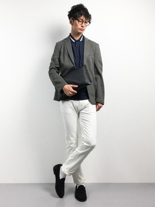 ジャケットと組み合わせたポロシャツコーディネート