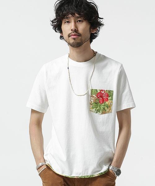 花柄ポケットのチョイ派手Tシャツ