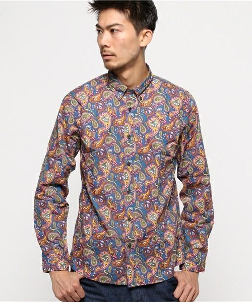 プリティーグリーンのペイズリーシャツ