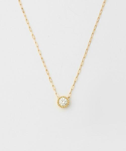ageteの0.1ctのミル打ちダイヤモンドネックレス.jpg