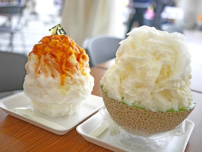かぼちゃキャラメルと贅沢まるごとメロンかき氷
