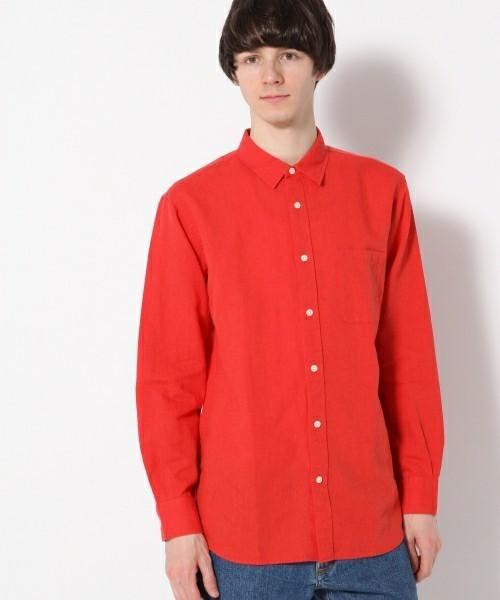 赤のフレンチリネンコットンシャツ