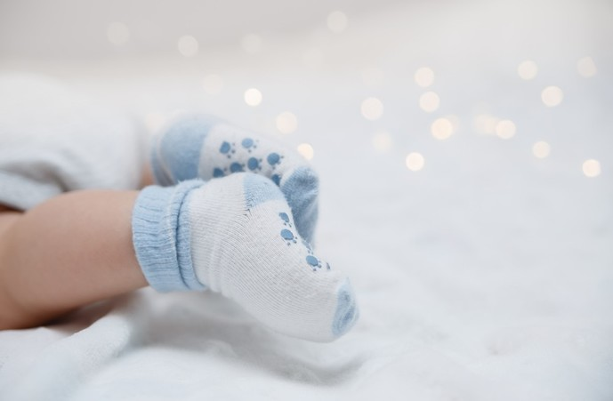 出産祝いの靴下