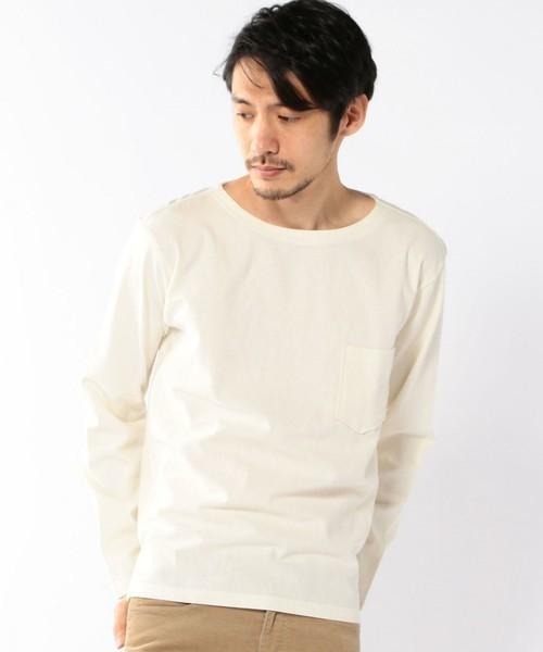 シャツ生地とカットソー生地の混ざった異色のTシャツ