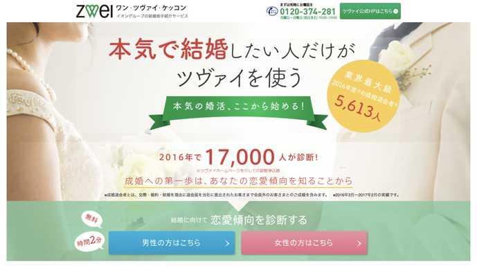 和歌山県でおすすめの結婚相談所サービスはツヴァイ