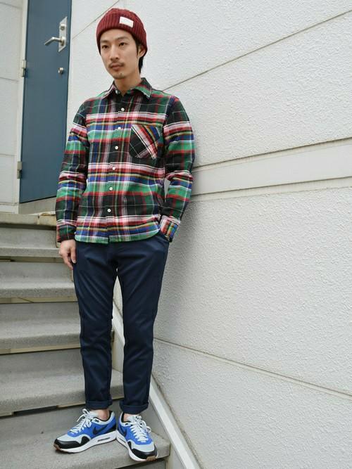 ニット帽とチェックシャツの秋コーデ