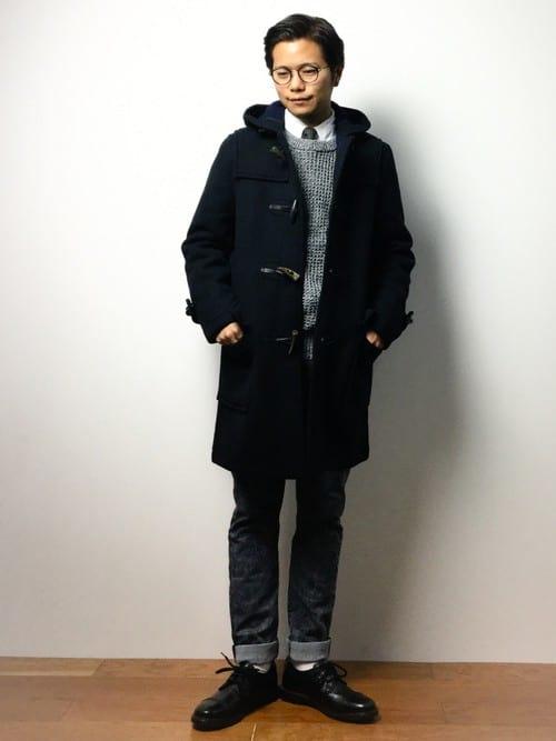 ダッフルコート×スーツスタイル